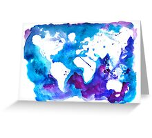 Watercolor Map of the World Greeting Card