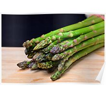 Green asparagus on wood  Poster
