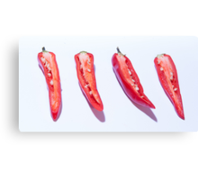 sliced Red Hot Chillies Canvas Print