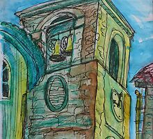 Watercolor Sketch - A Church Campanile in Genoa, Italy. 2012 by Igor Pozdnyakov