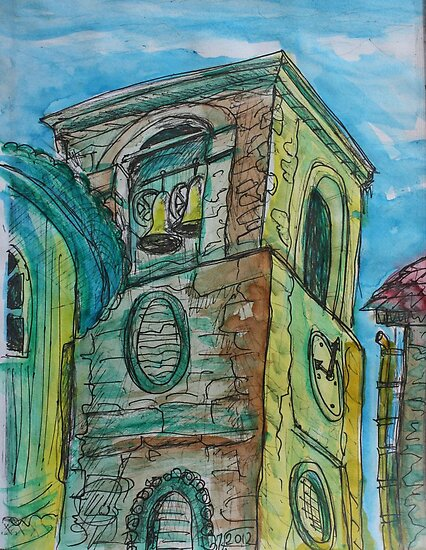 Watercolor Sketch - A Church Campanile in Genoa, Italy. 2012 by Igor Pozdnyakov