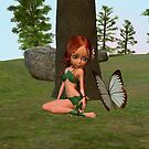 Forest Elf Girl and Butterfly by Vac1