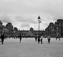 The Lourve in Black and White by Emily McAuliffe