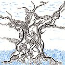 Tree Spirit, hand drawn ink on paper ACEO by Regina Valluzzi