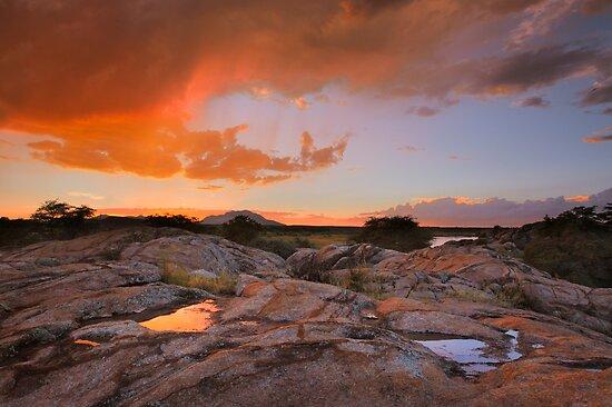 Sunset Puddles by Bob Larson