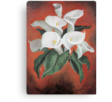 Calla Lilies On A Red Background Canvas Print