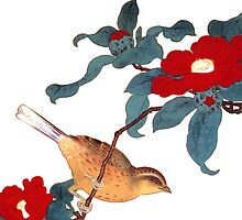 japenese bird and red flower by meretsegur