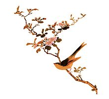 japenese print  bird on branch by meretsegur