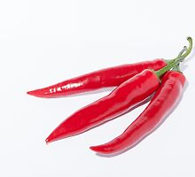 Trio of hot Chillies by Michael Hollinshead