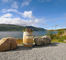 Flowerbed - barrel on the banks of the fjord by DmiSmiPhoto