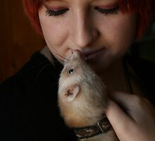 Self Portrait with Ferret 01 by Wizadora Wilkinson
