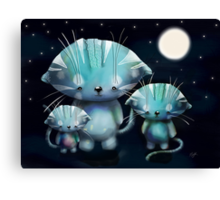 Lucky, Lola and Luna, Full Moon Cats Canvas Print