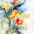 Freesia In A Pickle Jar by Barbara Pommerenke