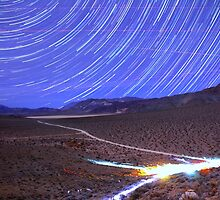Space Star Trails over Moonlit Death Valley Desert by Gavin Heffernan