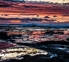 Pinks, blues, sky, rocks, sea by KittieEmpire