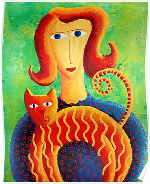 Woman witha Cat by Julie Nicholls