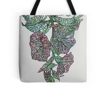 Vintage Style Stained Glass Morning Glory Tote Bag