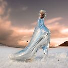 glass slipper on white snow covered golf course by morrbyte