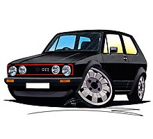 VW Golf GTi (Mk1) Black Photographic Print