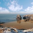 frosty snowcovered coast beach and virgin rock by morrbyte