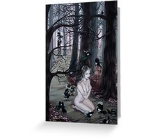 Omen Girl in Purple Forest with Magpie Birds Greeting Card