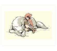Petite Rouge en le Loup  Art Print