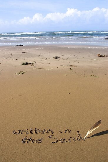 it's written in the sand on a beach by morrbyte