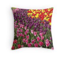 Tulip Garden in the Mid-day Sun Throw Pillow