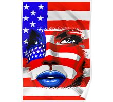 Usa Flag on Girl's Face Poster