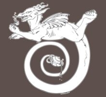 Tea, Kettle and Dragon (text-free shirt/sticker version) by GoblinWorks