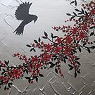 picture of a bird with red grey gray silver black blossom and leaves by cathyjacobs