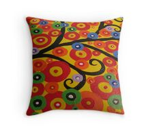Red yellow green orange blue and black circle tree Throw Pillow