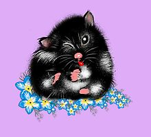 Funny Furry black white Syrian Hamster by LeahG by LeahG Artist