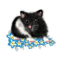 Cute black and white Syrian Hamster Art by LeahG by LeahG Artist