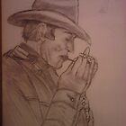 COWBOY LIGHTING UP FOR A SMOKE /// CHARCOAL SKETCH by TSykes