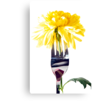 silver fork stuck into dahlia Canvas Print