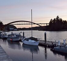 Twilight on Swinomish Channel, Boats Berthed for the Night - Scene 2 by seeingred13