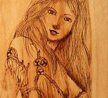 Pyrography: Gumnut Wood Nymph by aussiebushstick