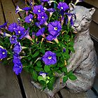 Bronze Cat Statue Plant Holder On My Deck by Jane Neill-Hancock