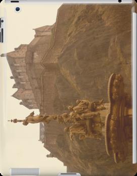 Edinburgh Castle & Fountain - landscape style by ZoeKay