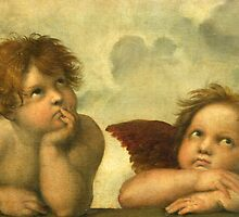 Raphael - Sistine Madonna Angels by TilenHrovatic