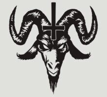 Satanic Goat Head with Cross (black) by MysticIsland