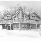 Log home drawing by Mike Theuer