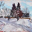 Winter landscape - pleinair oil pastel landscape by aceshirt