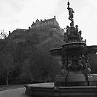 Edinburgh Castle & Fountain - monochrome by ZoeKay