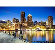 Boston skyline by night Photographic Print
