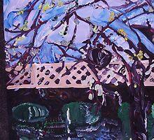 BLOOMING TREE - acrylic, tempera, paper 22 x 28'' by irishrainbeau