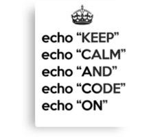 Keep Calm And Code On - Shell Script - Black Metal Print