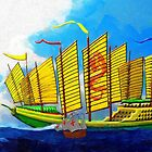 A digital painting of  the Zheng He Flagship 1405 by Dennis Melling