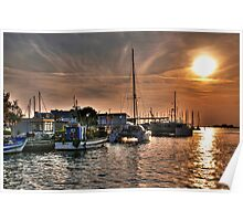 Fiery Sky Over the Lagoon - Grado - Italy Poster